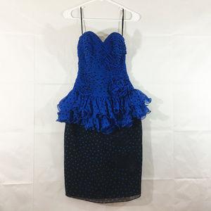 P29 Vintage A J Bari Blue Ruffle Dress